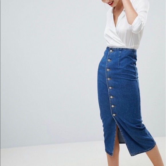 detailing soft and light good looking ASOS DESIGN Petite denim midi skirt NWT